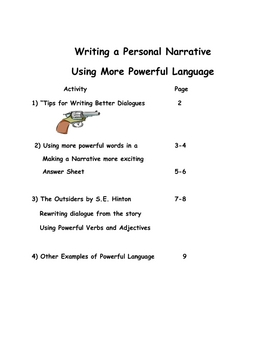 Writing a Narrative-Using More Powerful Words and Dialogues