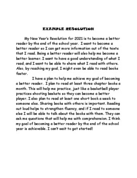 Writing a New Year's Resolution:lesson plan, organizers, example, and rubric