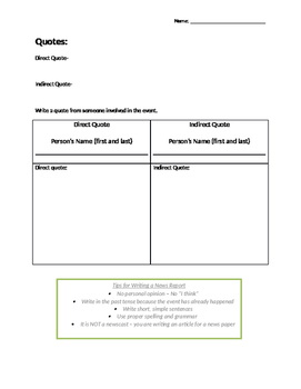 Writing a News Report Template based on the novel Crabbe - Literacy (OSSLT) Prep