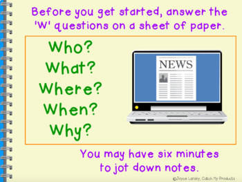 Writing Process : Writing a News Story for Promethean Board
