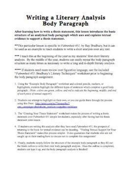 Writing a One-Body Paragraph Analysis, Using Bradbury's Fahrenheit 451