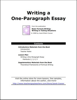 Writing a One-Paragraph Essay