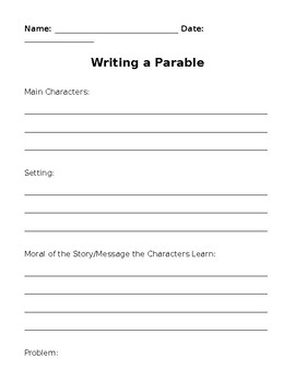 Writing a Parable - Graphic Organizer