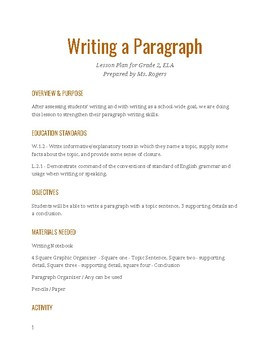 Writing a Paragraph / With Paragraph Starters