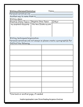 Writing a Personal Narrative Using Correct Paragraphing