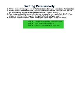 Writing a Persuasive Essay in Word