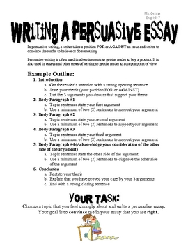 Writing a Persuasive Essay (with rubric)