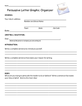 Writing a Persuasive Friendly Letter - Organizer