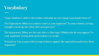 Writing a Persuasive Paper- Informational PowerPoint