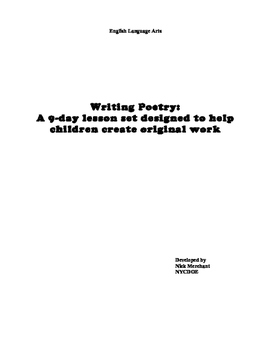 Writing a Poem in 9 Days: Lesson Plans PDF