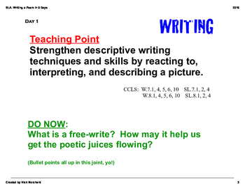 Writing a Poem in 9 Days: SmartBoard slides (PDF)