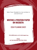 """Writing a Position Paper on """"Macbeth"""": Essay Planning Sheet"""