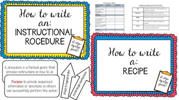 Writing a Procedure -- instructional and recipe {Posters, Labels and Rubric}