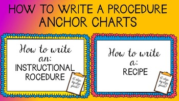 Writing a Procedure -- instructional and recipe {Posters,
