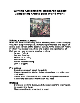 Writing a Research Assignment: Comparing Artists post World War II
