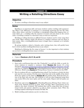 Writing a Retelling/Directions Essay