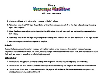 Writing a Short Response Using a Reverse Outline for Grades 3-8
