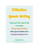 Writing a Speech Worksheet and Speech Evaluation Forms
