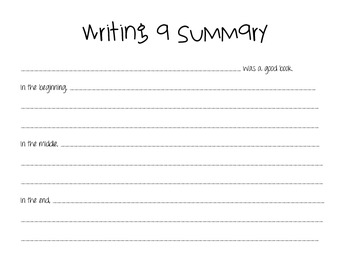 Writing a Summary- Give me 5 Strategy Template