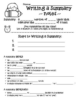 Writing a Summary - Notes