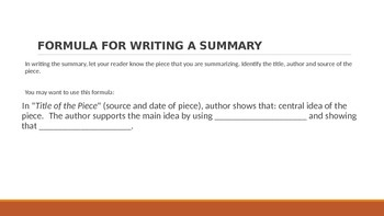 Writing a Summary PPt (The Love Song of Alfred J. Prufrock example)