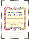 Writing Summary of a Fiction Text (Paragraph Frame)
