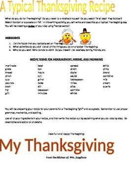 Writing a Thanksgiving Recipe