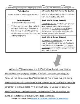 Writing a Theme Paragraph Scaffolded Worksheet