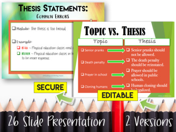 Writing a Thesis Statement: Lesson and Activities