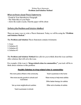 Writing a Thesis Statement - The Problem & Solution Method