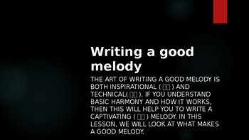 Writing a good melody PPT