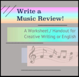 Writing a music review - questions and handout for creativ
