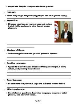 Writing a speech (Editable)
