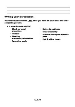 Writing a speech (Editable)