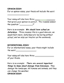 Writing a thesis and support, 5 paragraph essay, opinion e