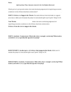 Writing about Informational Texts -- Paragraph Writing Guide