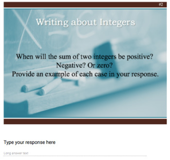 Writing about Integers – 8 Google Forms
