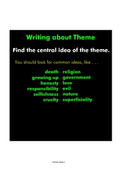 Writing about Literary Theme: A Smart Notebook Presentation
