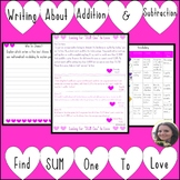 Writing about Math: Addition and Subtraction Find SUM one to Love Activity