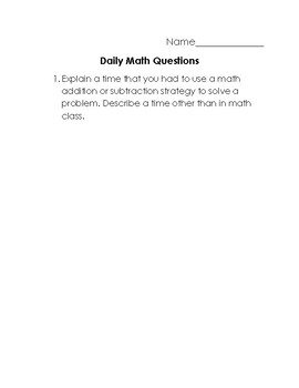 Writing about Math Questions 5 Day Pack