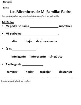 Writing about Mi Familia for Beginning Spanish I Students