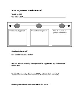 Writing about Reading Letter Writing Organizer