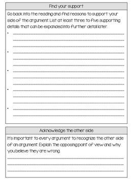 Writing an Argument Essay Graphic Organizer