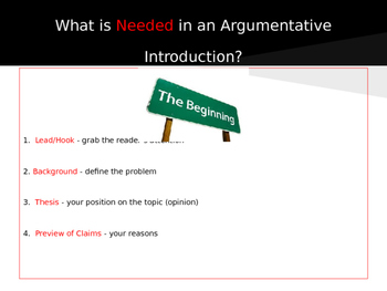 Writing an Argumentative Introduction