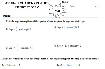 Writing an Equation in Slope Intercept Form