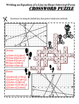 Writing an Equation of a Line Crossword INB and Google Slide