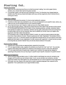 Writing an Essay - Directions, Tips, and Organizers