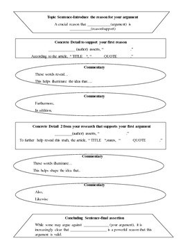 Writing an Essay--Graphic Organizers and Sentence Frames