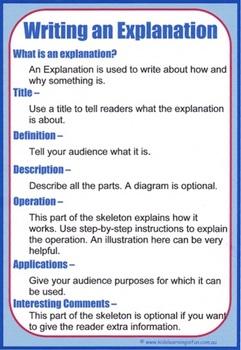 Writing an Explanation Cheat Sheet