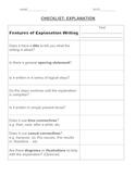 Writing an Explanation - Checklist